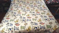 Jenny Faw Cat Dog Fabric Shower Curtain white blue pink yellow colorful bathroom