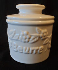 Fresh & Creamy Butter Bell Crock by L. Tremain Classic White Raised Floral 3.5x4