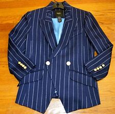 Smythe Les Vestes Crossover Pinstripe Striped Navy Blue Hunting Blazer Jacket 12