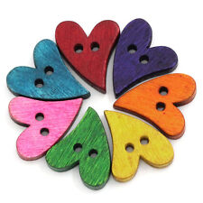 100Pcs Multicolor 20Mm Heart Shape Brown Wooden Sewing Button Craft Scrapbooking