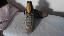 MENS ZEGNA SPORT GREY LEATHER/TEXTILE LACE-UP SNEAKERS SIZE UK 7