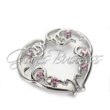 Pair Non-Piercing Clip On Heart Silver Nipple Rings Shields With Pink Crystals