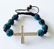 SHAMBALLA TEAL BRACELET WITH RHINESTONE CROSS &10mm DISCO BEADS-CZECH CRYSTAL-UK