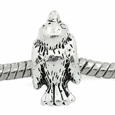 """Bird KaKapo"" Antique Silver Charm Bead Spacer for Snake Chain Charm Bracelets"