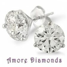 1.2 ct certified H VS2 round diamond 3 prong martini studs earrings platinum