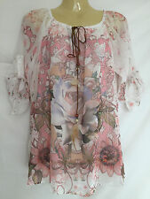 Ladies Floral Print Paisley Top Tunic Blouse Long Sleeves WIDE drawstring Neck M