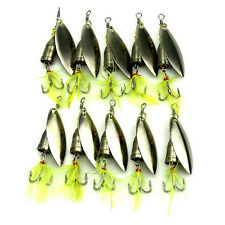 10 Pcs/Set Spinner Fishing Baits Metal Artificial Lures Fishing Yellow Feather