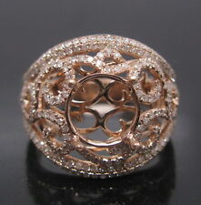 Round 10mm Solid 14K Rose Gold Natural Diamond Semi Mount Engagement Ring