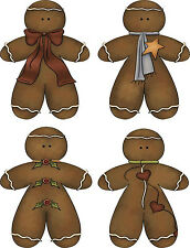 Gingerbread Man stickers on glossy paper set of 12 scrapbooking crafts