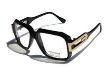 Gloss Black Clear Lens Square Sun Glasses Gold Metal Accents Run DMC Cazal style