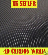1m x 500mm Black 4D Carbon Fibre Fiber Vinyl Wrap Air Drain Sticky Back Plastic