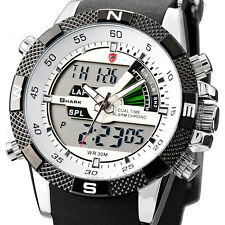 U.S.A SHARK Fashion Mens LCD Digital Rubber Quartz Date Day Wrist Sport Watch