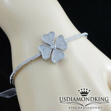 Ladies Women's Solid 925 Sterling Silver Flower Cubic CZ Tennis Bracelet 8.5""