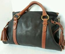 Margot Leather Handbag Doctor Bag 2 Tone Black Leather Brown Trim and Tassles