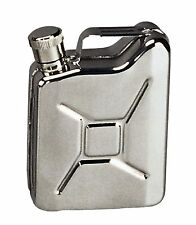 Stainless Steel Jerry Can Flask - 6oz Silver Metallic G.I. Gas Can Flasks