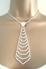 Ladies Clear Diamante Tie Rhinestone Choker Necklace