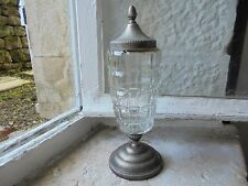 French divine vintage Absinthe cut glass metal silver decorative item