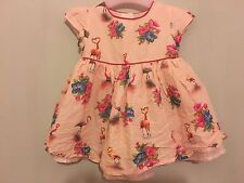 Gorgeous Baby Girls Floral Flamingo Pattern Pink Party Summer Dress 3-6m ��