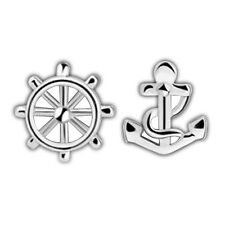 Shiny 925 Sterling Silver PL Cute Little Small Helm & Anchor Stud Earrings Gift