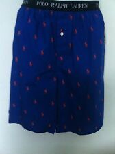 Polo Ralph Lauren Sleep Shorts Solid Blue with Orange Logos Allover Size L NWT