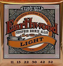 Ernie Ball Earthwood Phosphor Bronze Acoustic Guitar Strings Light (11-52) 1Set
