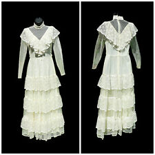 VTG 1970s GUNNE SAX Prairie Lace WEDDING DRESS Designer JESSICA MCCLINTOCK Gown