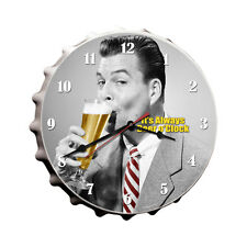 """Beer O'Clock 14"""" Wall Clock - Hand Made in the USA with American Steel"""