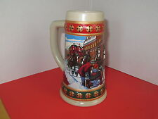 "Budweiser Stein / Mug 1993 ""Hometown Holiday"" Clydesdales Advertising Bar Decor"