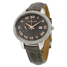 MICHAEL KORS SILVER TONE,GREY LEATHER BAND,OVAL GLITZ CRYSTAL DIAL WATCH-MK2427