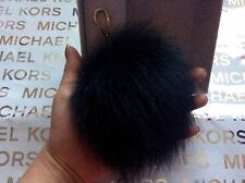 Michael Kors MK XXL Extra Large Gold Black Fox Fur Pom Pom Key Bag Charm NWT $58