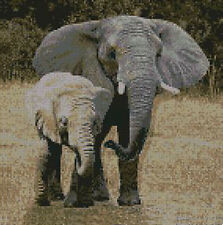 """Elephant & Baby Counted Cross Stitch Kit 10""""x 10"""" A2103"""