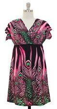 Womens Size Kimono Dress Pink Black Floral Peacock Elastic Waist V Neck 1X 12/14
