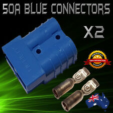 2 X BLUE 50Amp DC Anderson Style Plug 12v to 600v Power Battery Connector
