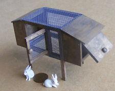 1:12 De Madera Hutch & 2 De Cerámica Conejos Casa de muñecas en miniatura Jardín Pet Accesorio