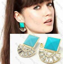 3cm chunky SQUARE aztec EARRINGS art deco GOLD FASHION turquoise blue RHINESTONE