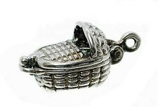 VINTAGE SILVER OPENING MOSES BABY BASKET CHARM