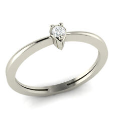 100% Certified Natural Round Diamond Accent Sterling Silver Promise Ring