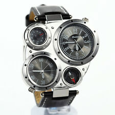 Men Military 2 Dials Multi Timezone Sports Leather Analog Wrist Watch OL02 Black
