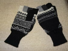 High Quality  Alpaca  Wool Gloves Mitten Fingerless PERUVIAN  black/white/ L/XL