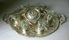 Vintage Persian Silver Tea Set with Tray, Sugar Bowl and Arcoroc France Plates