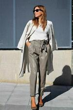 ZARA Mink Faux Leather Tie Belt Trousers M 10 12 BNWT