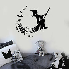 Vinyl Wall Decal Halloween Witch Broom Magic Fairy Tale Leaves Stickers (ig842)