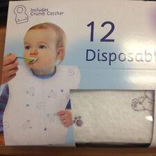 Nuevo purebaby Caja De 12 Desechables Baberos incluye Crumb Catcher Acolchado Hermético