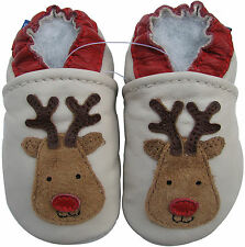 carozoo red nose reindeer 18-24m soft sole leather baby shoes