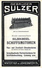 Gebr.Sülzer Winterthur 300 PS UNTERSEEBOOTMOTOR Historische Reklame von 1912
