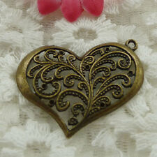 Free Ship 22 pieces bronze plated heart pendant 37x32mm #853