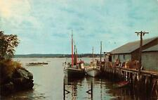 PORTLAND, ME  Maine     FISHING BOATS AT THE DOCKS-Lobster Crates      Postcard