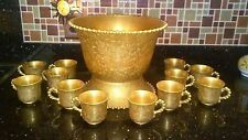 Imperial Glass Company All Over Gold Candlewick Punchbowl and 12 Cups Punch Bowl