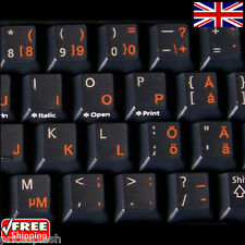 Swedish Finnish Transparent Keyboard Stickers With Orange Letters for Laptop PC