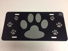 Dog Paw Print Car Tag Diamond Etched on Aluminum License Plate